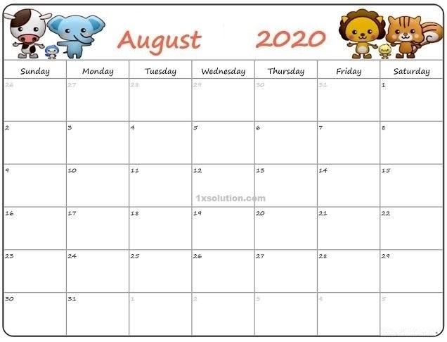 Calendar 2020 August PDF