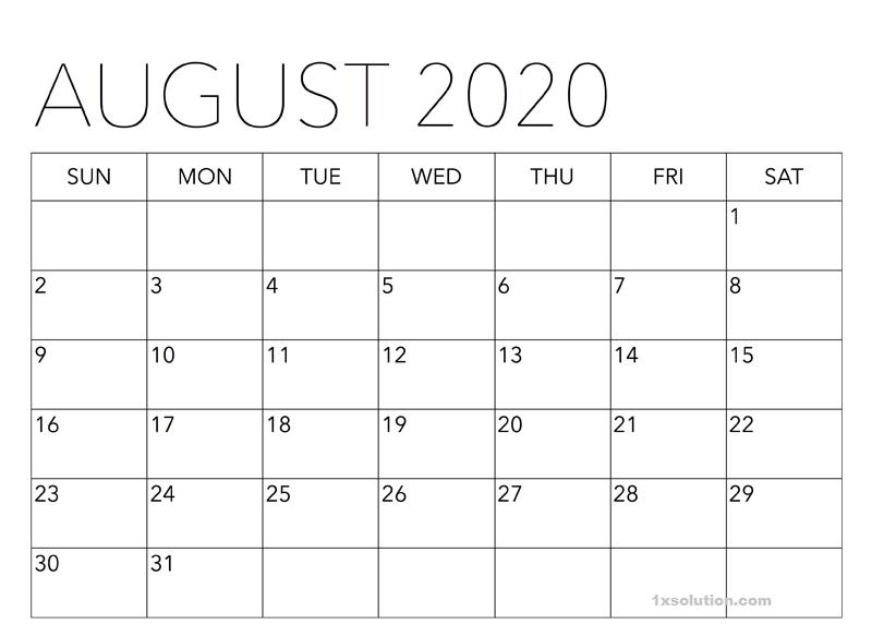 Calendar 2020 August Printable