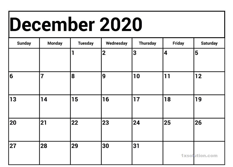 Calendar 2020 December Printable