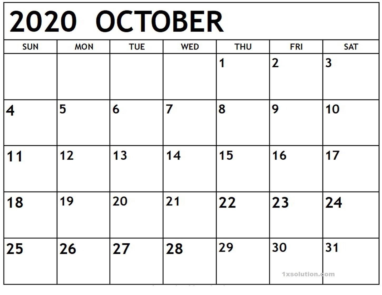 Calendar 2020 October PDF