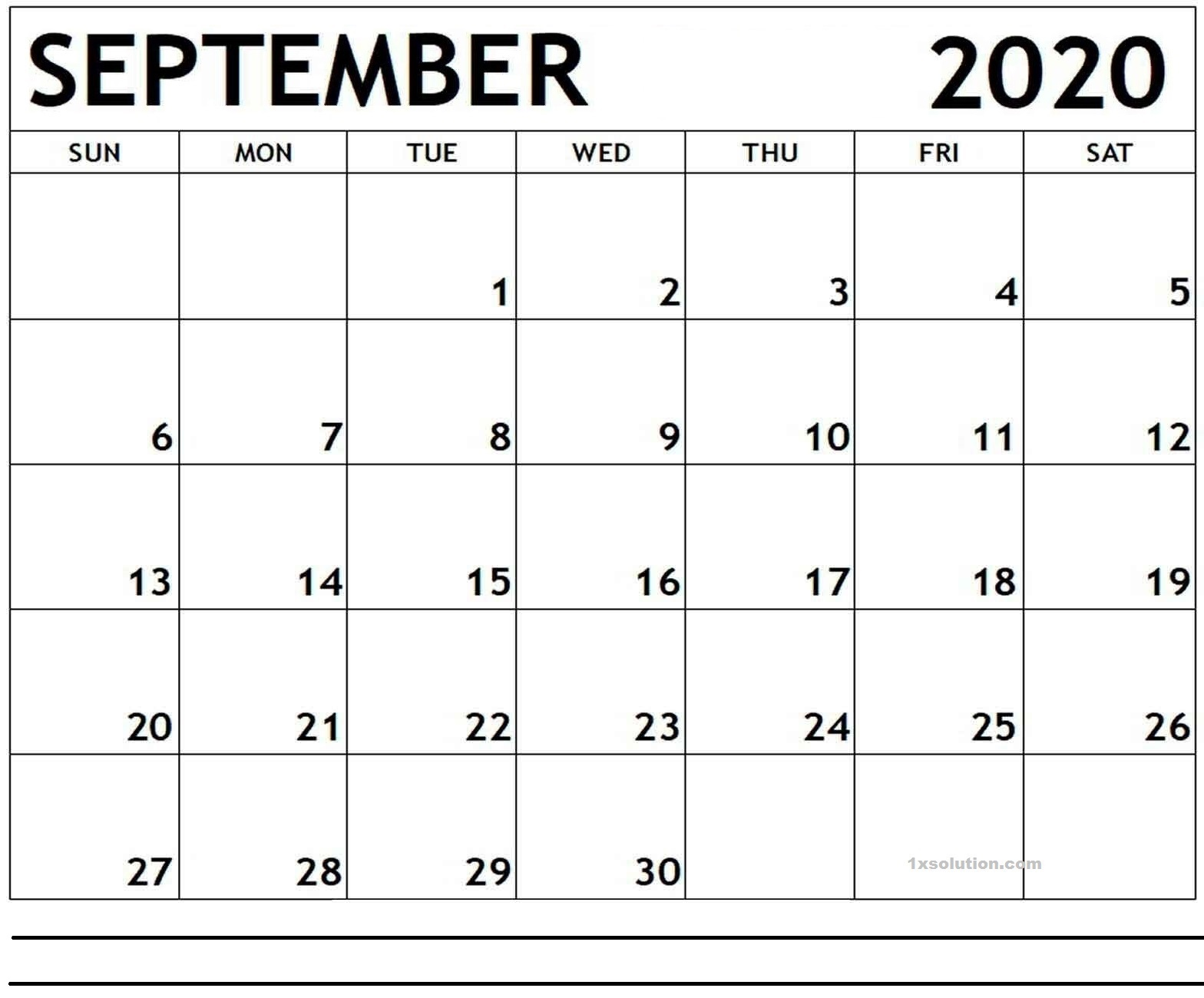 Calendar 2020 September PDF
