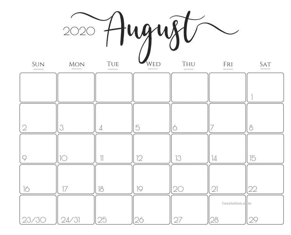 Calendar August 2020 Printable