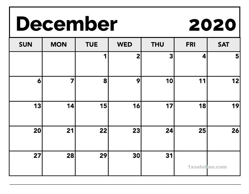 Calendar December 2020 Excel