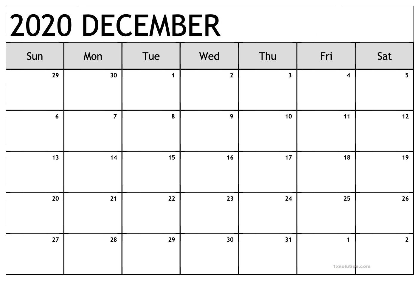 Calendar December 2020 PDF