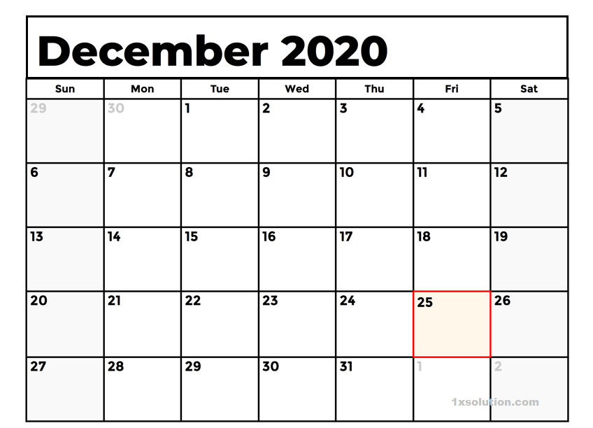 Calendar December 2020 Printable