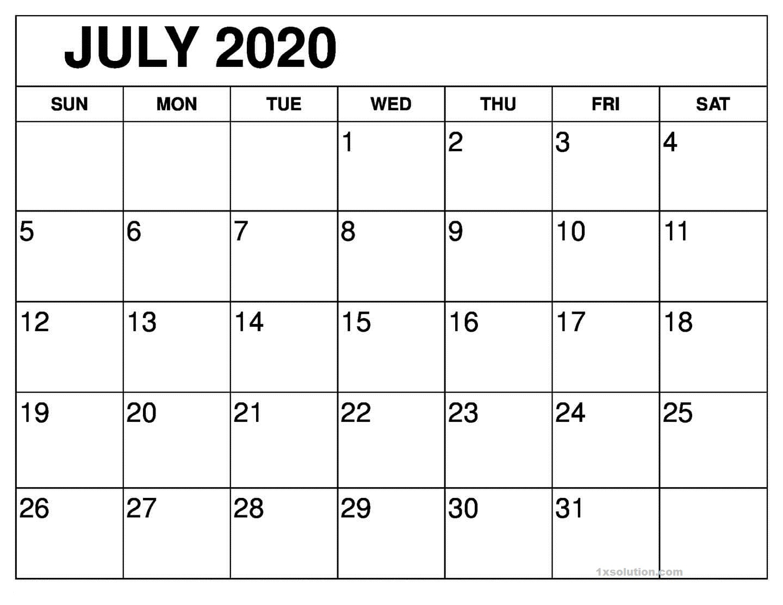 Calendar July 2020 Excel