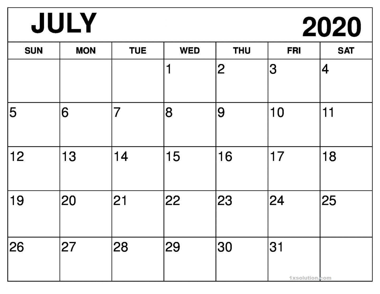Calendar July 2020 PDF