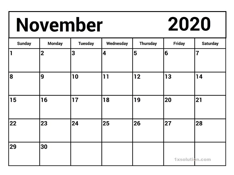 Calendar November 2020 Excel