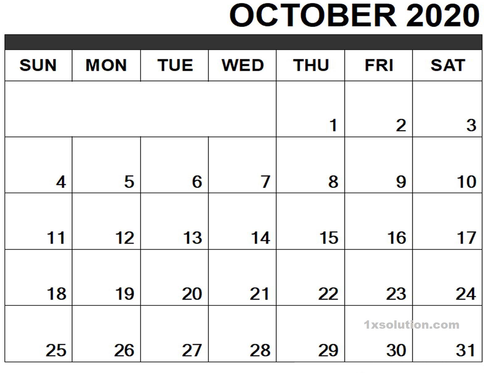 Calendar October 2020 Excel