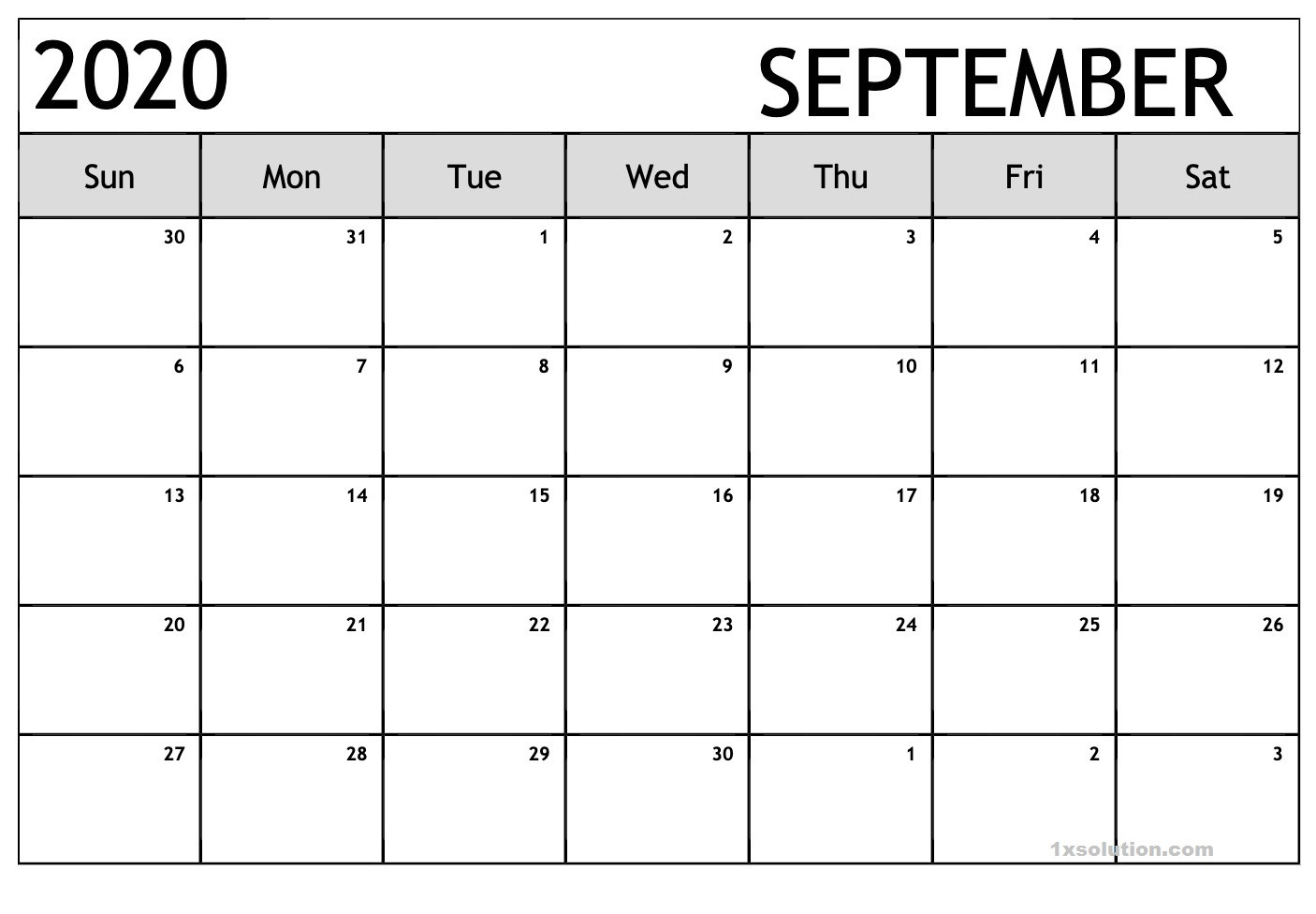 Calendar September 2020 Excel