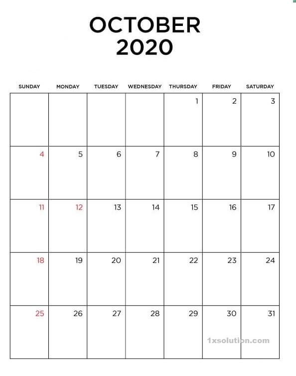 Cute Calendar October 2020