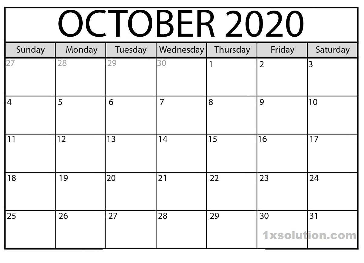 Cute October 2020 Calendar PDF