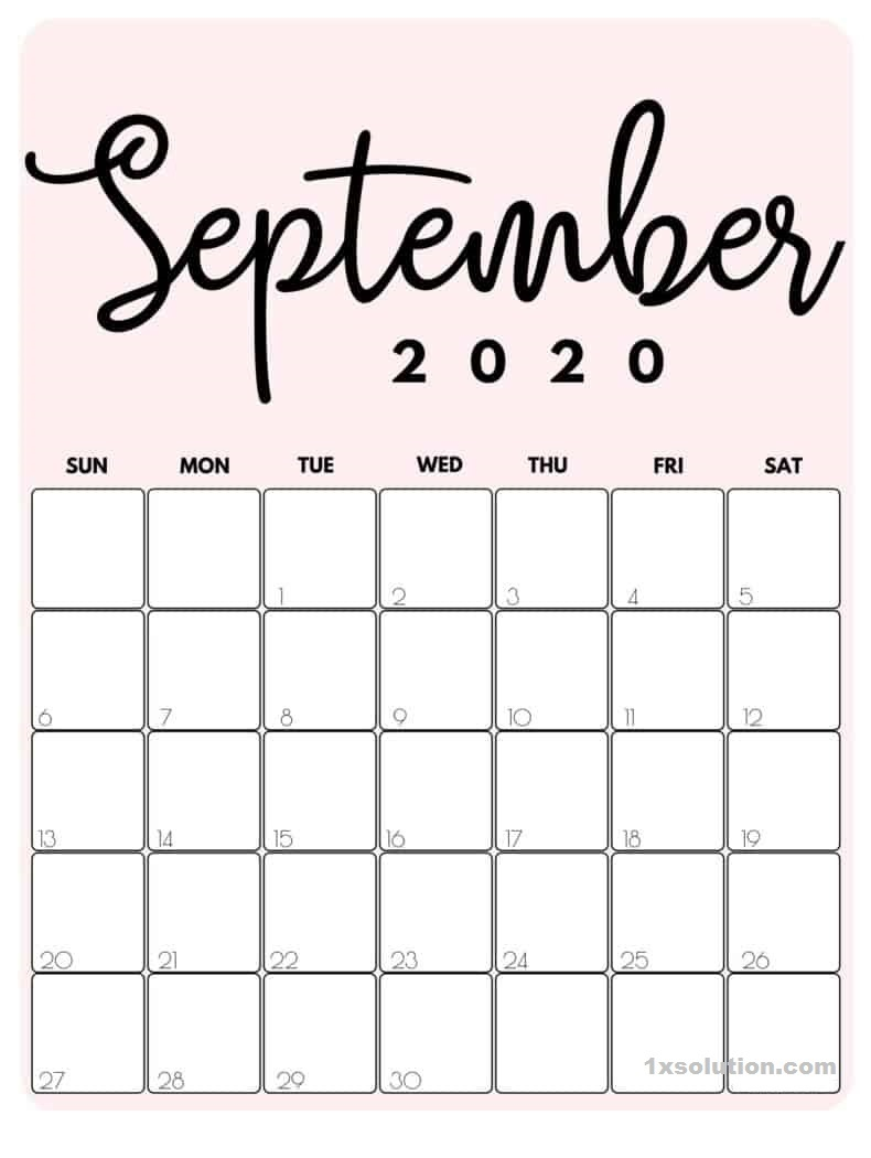Cute September 2020 Blank Calendar