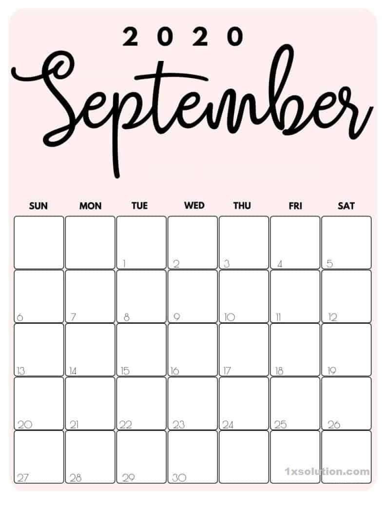 Cute September 2020 Calendar Excel
