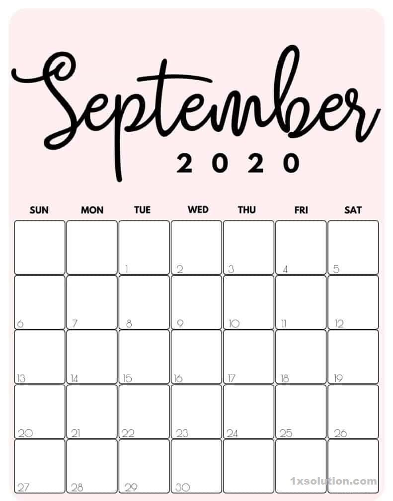 Cute September 2020 Calendar