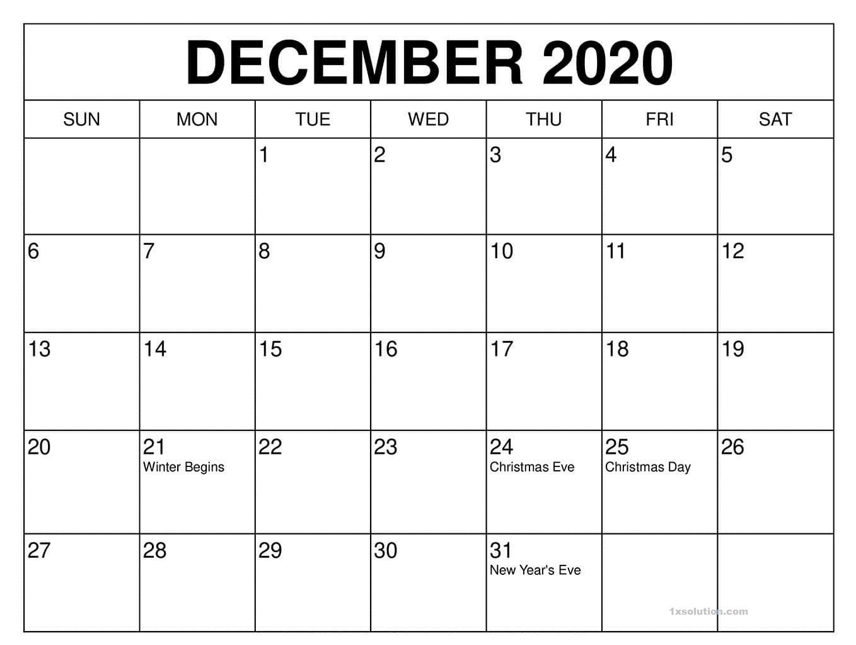 Dec 2020 Calendar