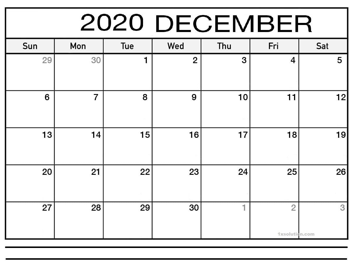 December 2020 Calendar Excel Sheet