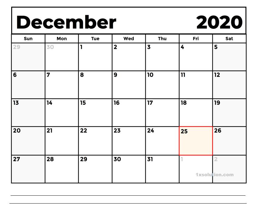 December 2020 Calendar Excel With Holidays