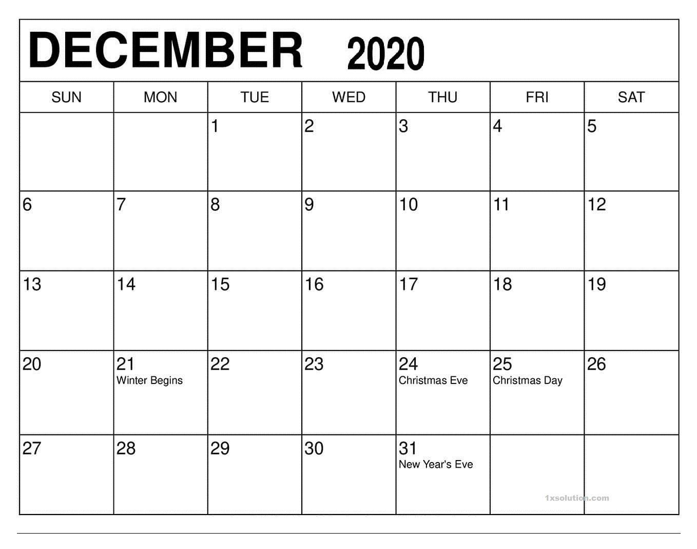 December 2020 Calendar Excel