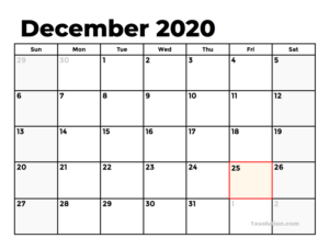 December 2020 Calendar PDF With Holidays