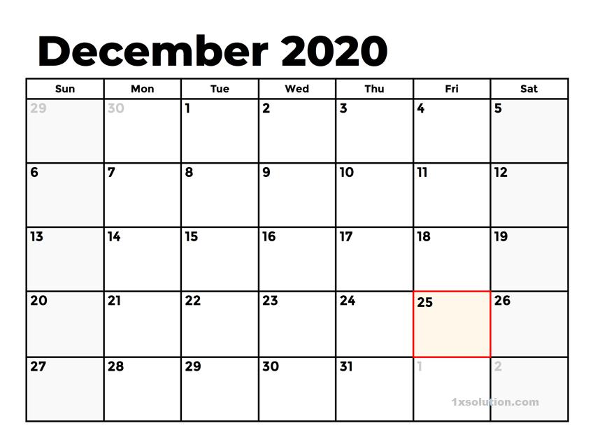 December 2020 Calendar PDF With Holidays