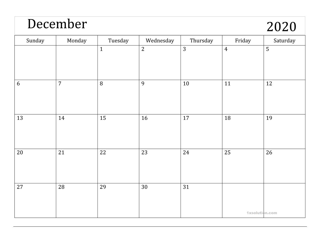 December 2020 Excel Calendar