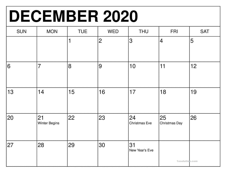 December 2020 PDF Calendar