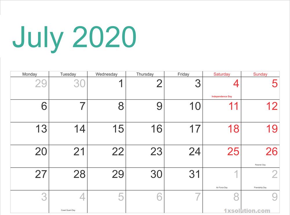 Download July 2020 Calendar Excel