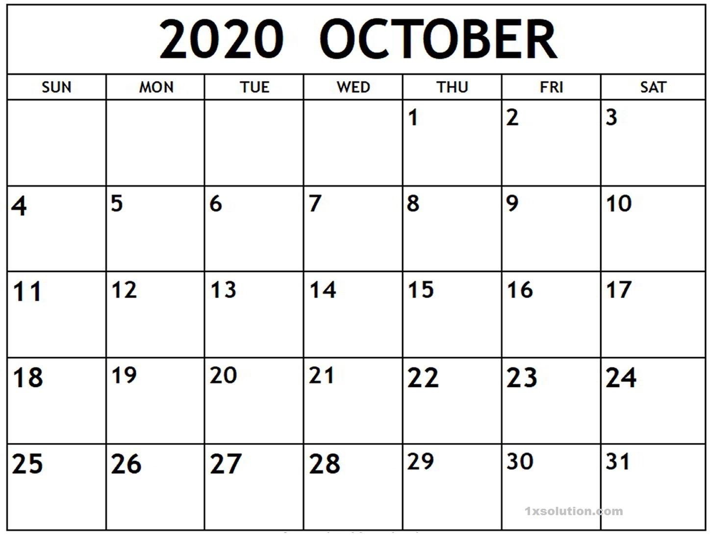 Download October 2020 Calendar