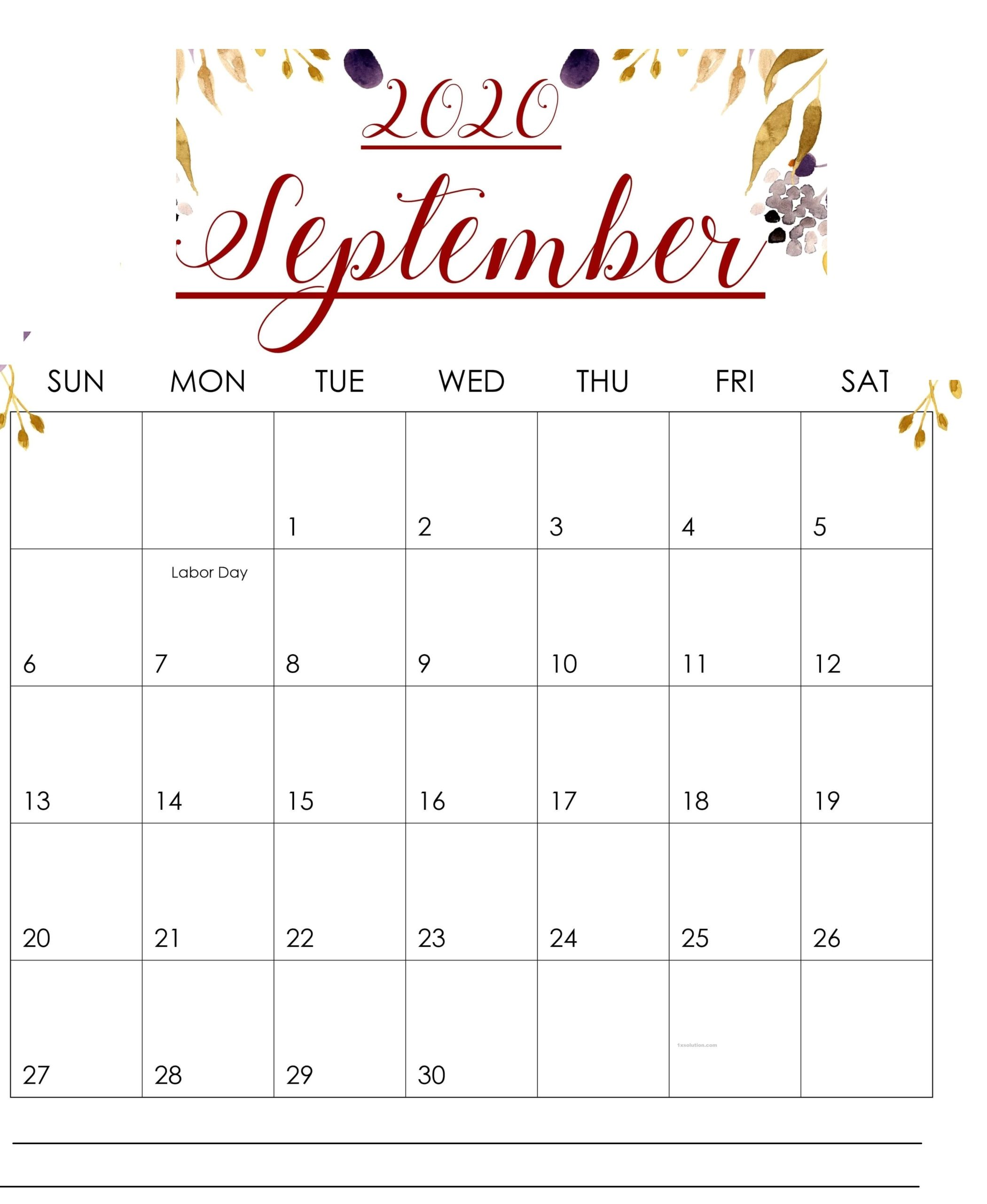 Download September 2020 Calendar