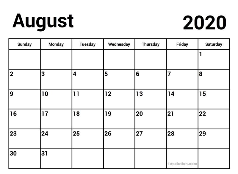 Excel 2020 August Calendar