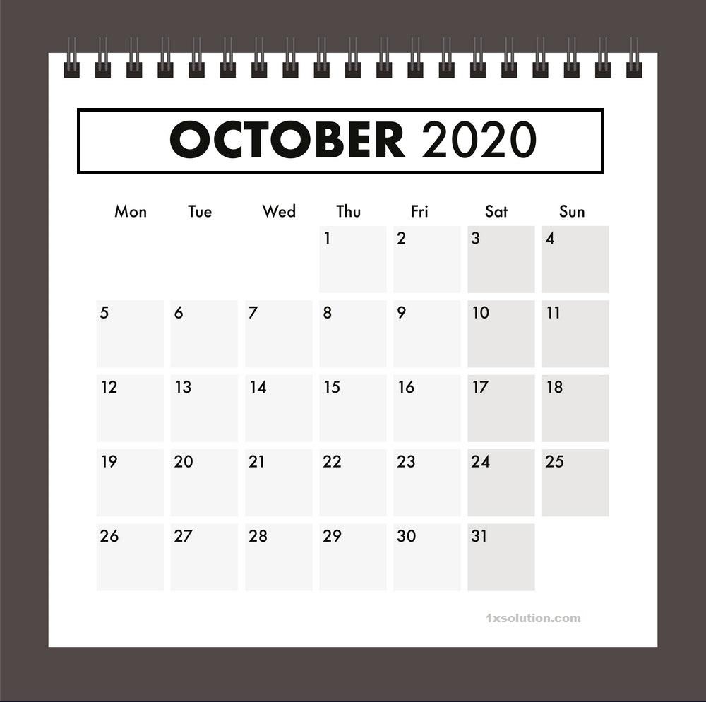 Excel Calendar October 2020