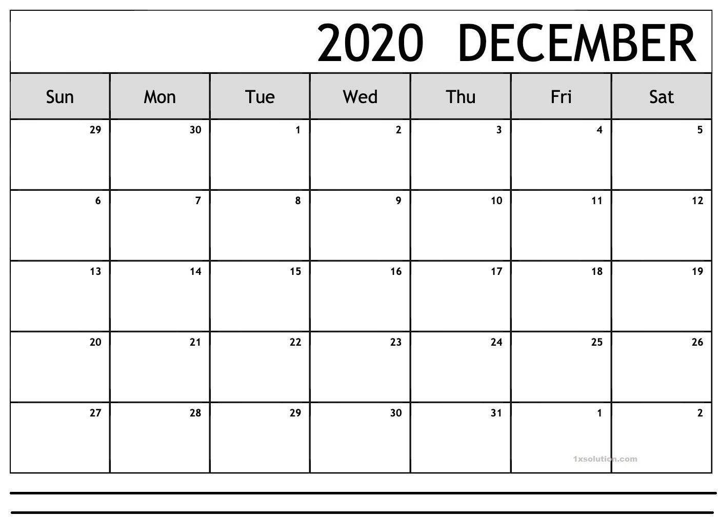 Excel December 2020 Calendar