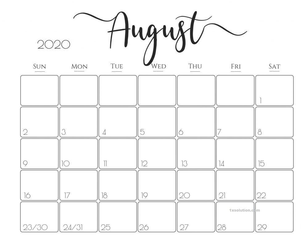 Free August 2020 Calendar Excel