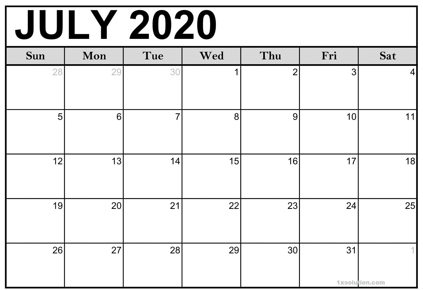 Free July 2020 Calendar Excel