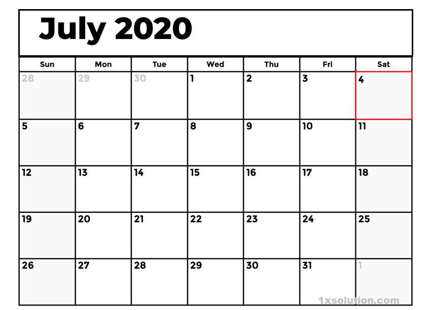 Free July 2020 Calendar PDF