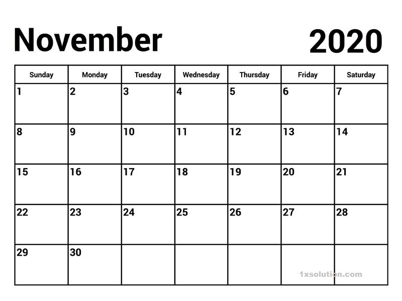 Free November 2020 Calendar PDF