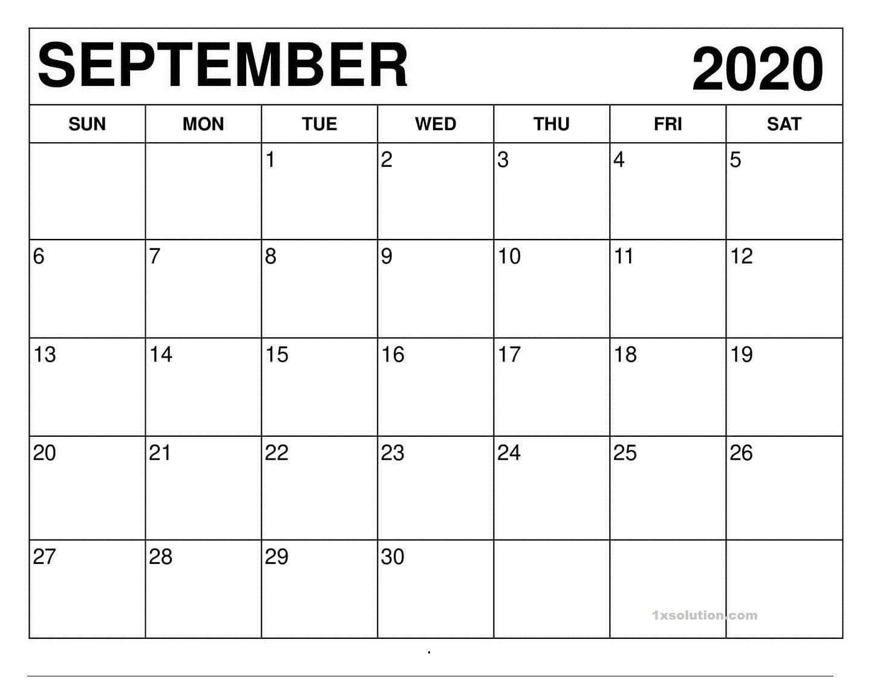Free September 2020 Calendar PDF