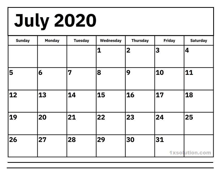 July 2020 Calendar Blank