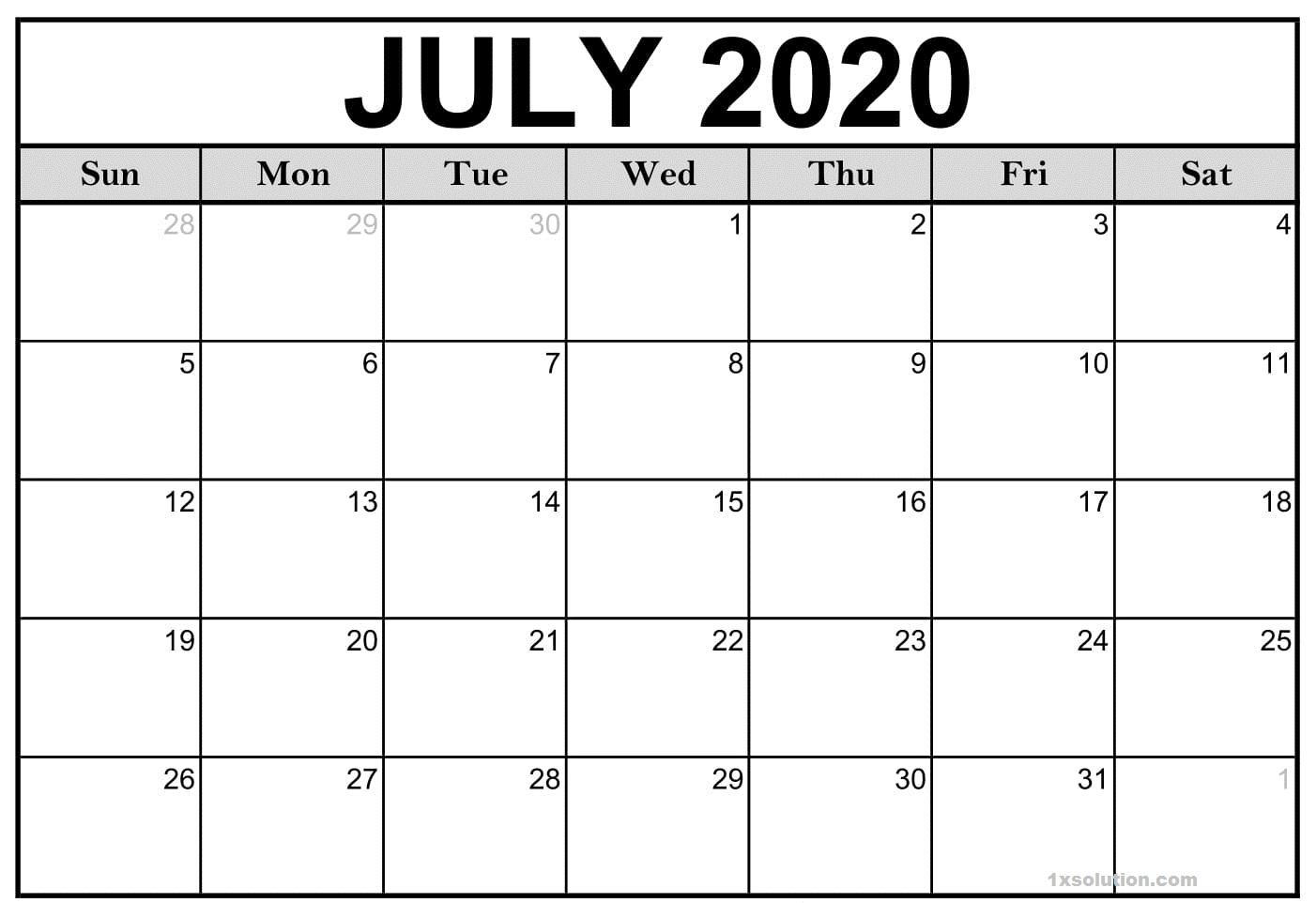 July 2020 Calendar Download