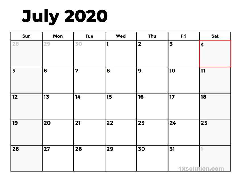 July 2020 Calendar Excel Sheet