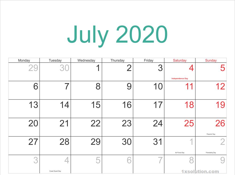 July 2020 Calendar Sheet