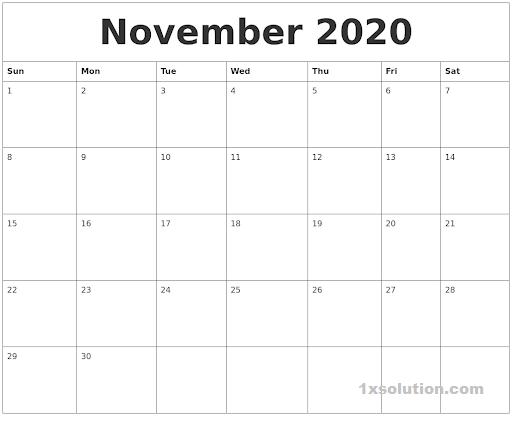 Nov 2020 Calendar