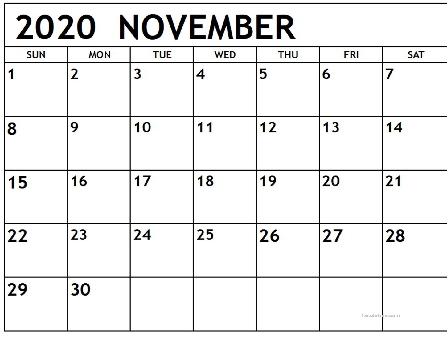 November 2020 Appointment Calendar Printable