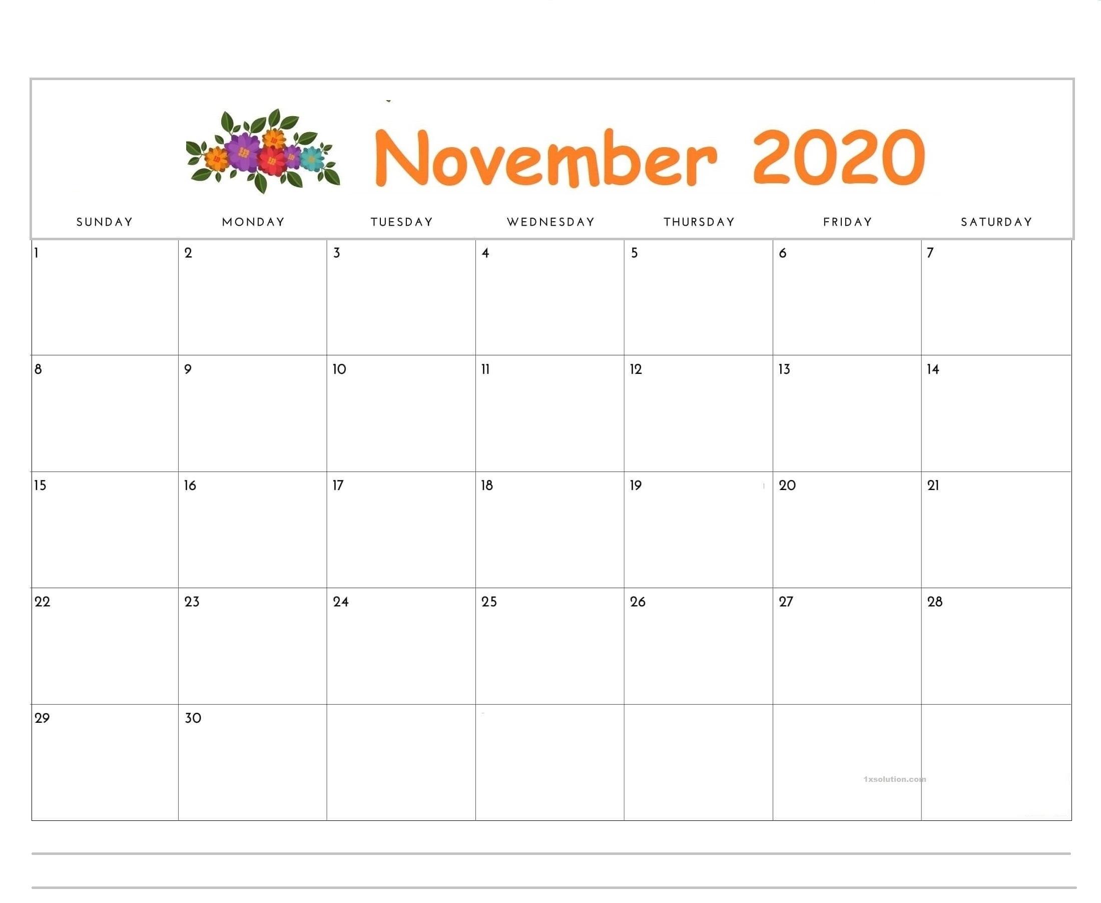 November 2020 Blank Calendar
