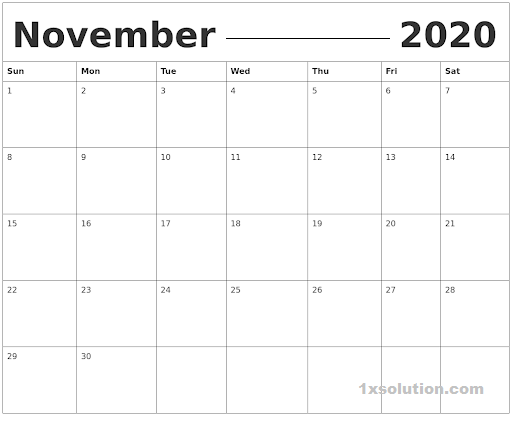 November 2020 Calendar Excel Sheet For Office