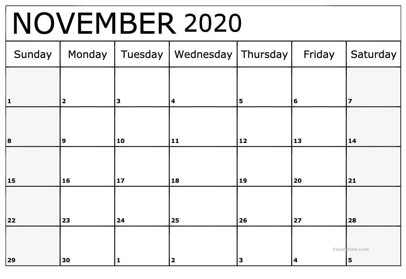 November 2020 Calendar Excel Sheet With Notes