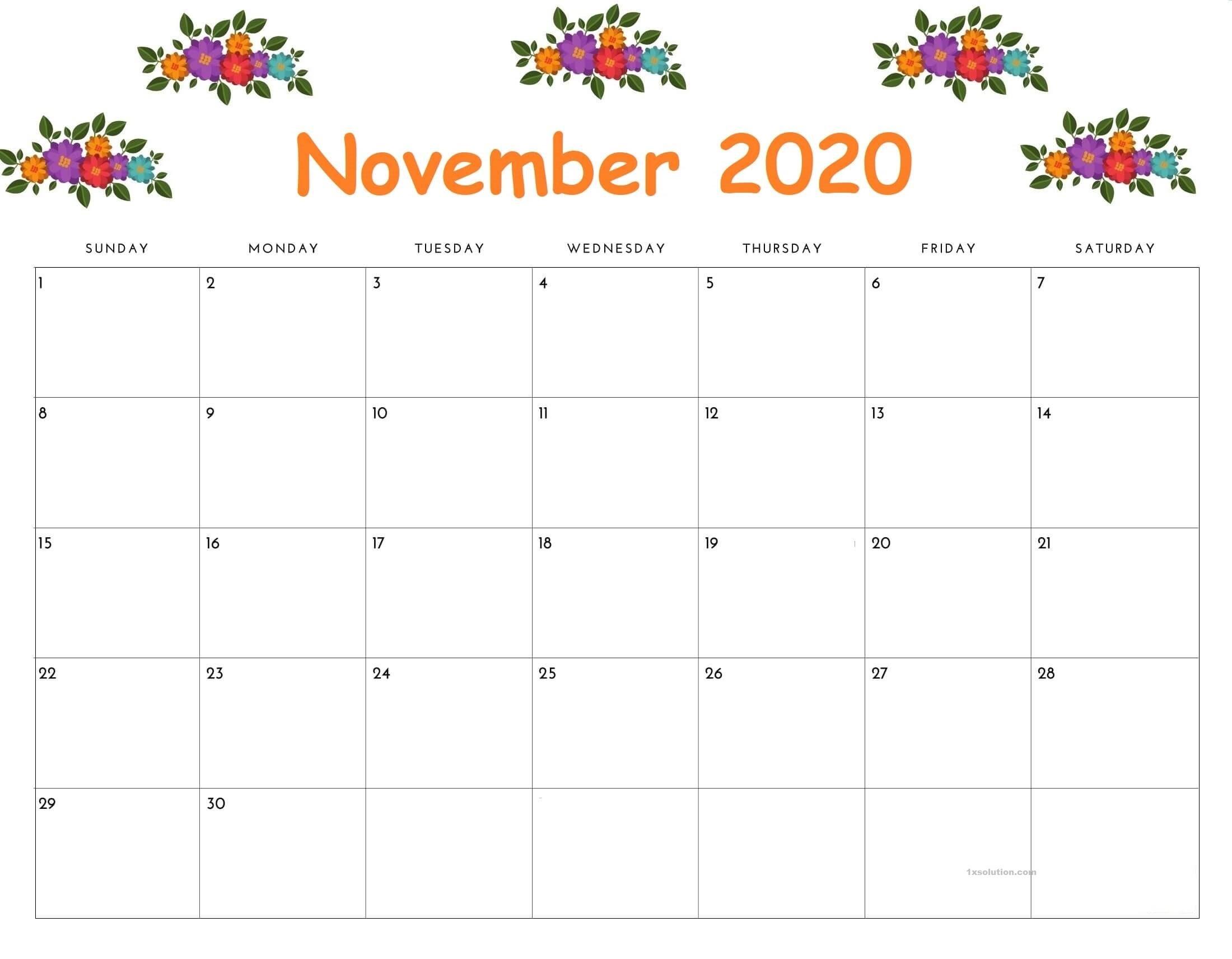 November 2020 Calendar Planner