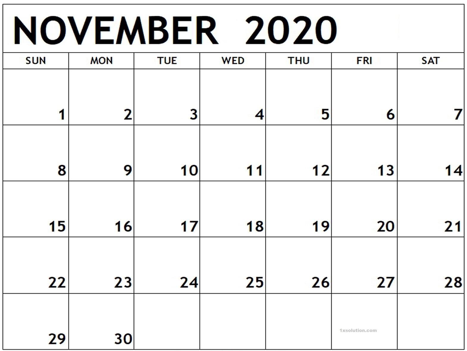 November 2020 Calendar Printable Landscape
