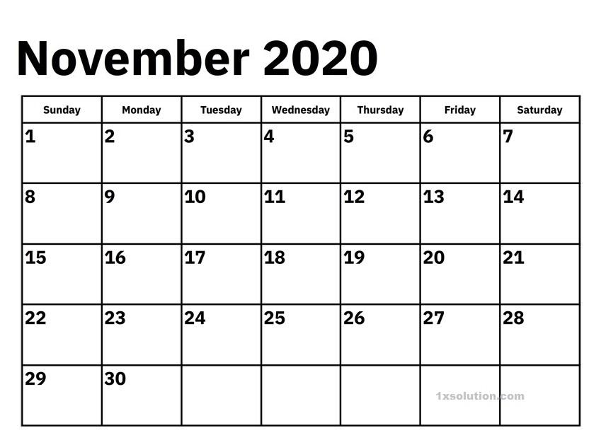 November 2020 Calendar Printable a4